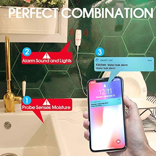 CISAY Water Leak Detector,100 dB Volume,TUYA Smart APP WiFi Water Sensor Alarm,Water Monitor Alarm with Rechargeable,Remote Monitor Leak Ideal for Home Security Basement,Washer, Bath Cellar