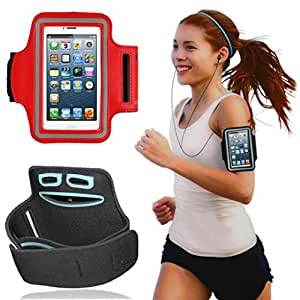 Red Sports Jogging Running Gym Armband Holder Case Cover For ZTE MAX N9520 Boost Mobile