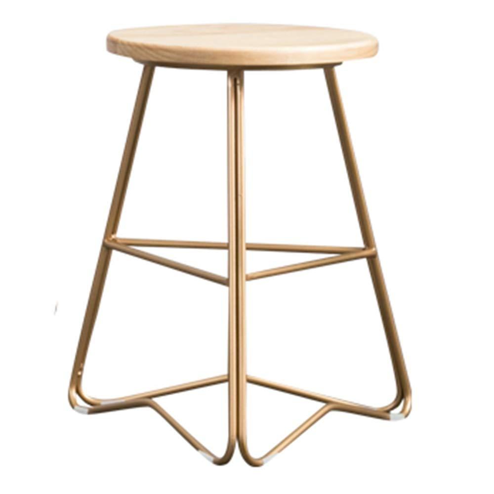 45cm LJFYXZ Bar Stool Bar Furniture Kitchen Breakfast Stool Wooden seat Metal Leg Counter Chair Bearing Weight 200kg Sitting Height 45 65 75cm gold (Size   45cm)