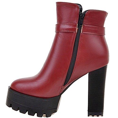 ENMAYER Mujeres Sólida Plataforma de Moda las Botas Con Hebillas Laterales Rojo