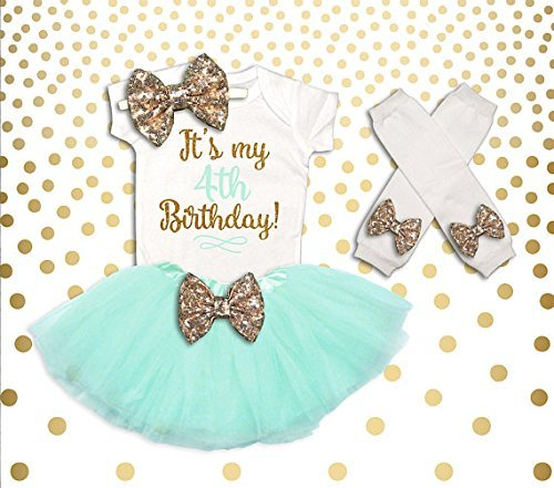 4th Birthday Outfit Girl Pink and Gold 4th Birthday Tutu Set Birthday Girl Outfit 4th Birthday Outfit Birthday Tutu Set by Oliver and Olivia Apparel