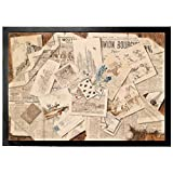 Newspapers Door Mat Floor Mat - French Newspaper Collage Postcards, Trompe L'Oeil Vintage Style (28 x 20 inches)