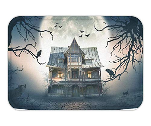 Usvbzd Doormat Happy Halloween Home Decor TapestrieArt Haunted House Full Moon Art Set .jpg