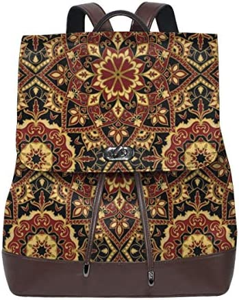Women's Leather Backpack,Byzantine Old Ornament In Dark Colors Stylized Medieval Mosaics,School Travel Girls Ladies Rucksack