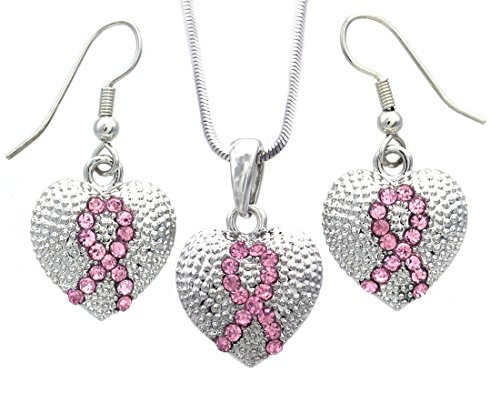 Breast Cancer Awareness Heart - Pink Ribbon Breast Cancer Awareness Heart Pendant Necklace & Earrings Set Jewelry