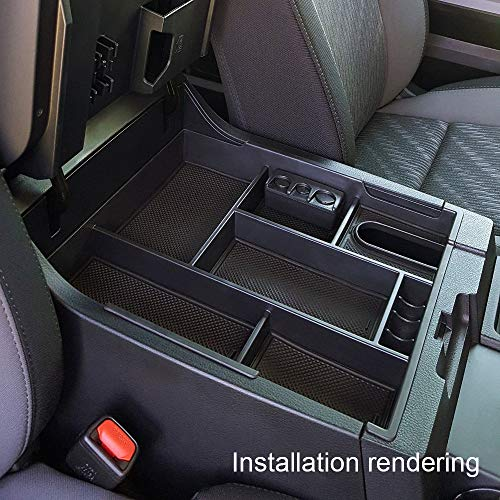 JDMCAR for 2014-2019 Toyota Tundra,Center Console Organizer Insert ABS Black Materials Tray, Armrest Secondary Storage Box - Full Tray