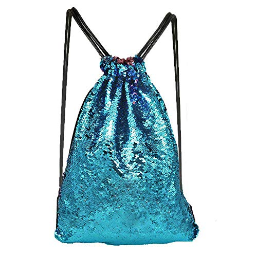 Alritz Mermaid Sequin Drawstring Bag, Reversible Sequin Backpack Glittering Outdoor Shoulder Bag for Girls Boys Women (Blue/Pink) ()