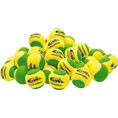 Gamma Sports Pressureless Practice Tennis Balls, Yellow/Green - Pack of 60