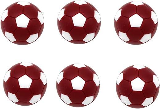 MagiDeal Paquete De 6 Balones Deportivos De Fútbol De Mesa De Futbolín - Mini Balones De Fútbol Balones De Fútbol De Mesa 32 Mm Rojo Oscuro: Amazon.es: Deportes y aire libre