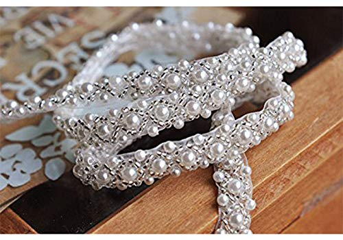 (QueenDream Elegant Wedding Silver Rhinestone Applique with Pearls -2yard)