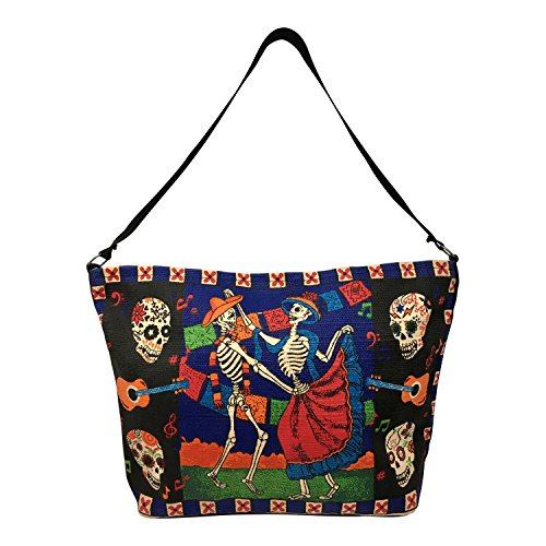 SpiritStar Sugar Skull Purse: Day of the Dead Inspired Daily Travel Bag Made with 100% Cotton (Dancing Sweethearts) -