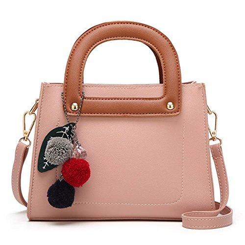 Moda Encantador Mujeres PU Cuero Bolso de mano Bolso de Crossbody Bolsos bandolera Rosa