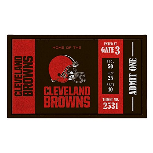 Team Sports America Cleveland Browns Recyclable PVC Vinyl Indoor/Outdoor Weather-Resistant Team Logo Door Turf Mat