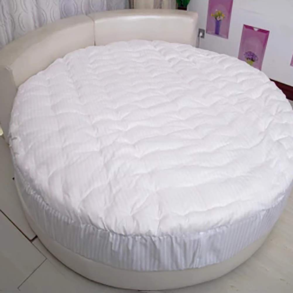 ZHANG Round Thick Mattress Topper,Quilted Design Solid Color Comfort Floor Mat Futon Bed Mattress Protector-a Diameter220cm(87inch) by ZHANG