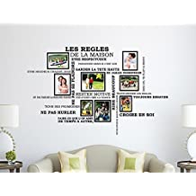 Wall Stickers House Rules Quote French with Photo Frame Birdcage Murals Decals Home Decoration Living Room Nursery Restaurant Hotel Cafe Décor
