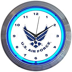Neonetics Blue USAF United States Air Force Neon Clock 15 Inch Diameter with Chrome Finish Rim - 8USAFB