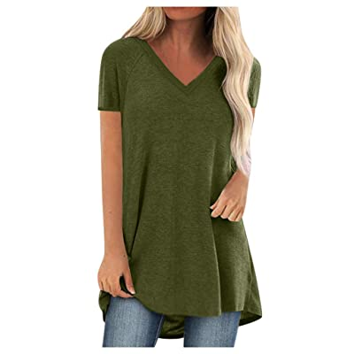 Eoeth Plus Size Women Solid T-Shirts Casual V Neck Loose Short Sleeved Pleated Tops Blouse Shirts Pullover Tracksuits: Clothing