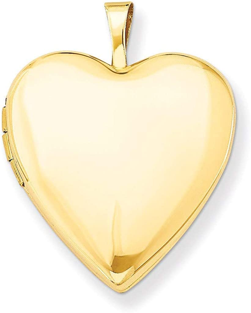 Pori Jewelers 14K Solid Gold Heart Locket Pendant- for Photos, Messages, Sentimental - Available in Yellow, White, and Rose Gold