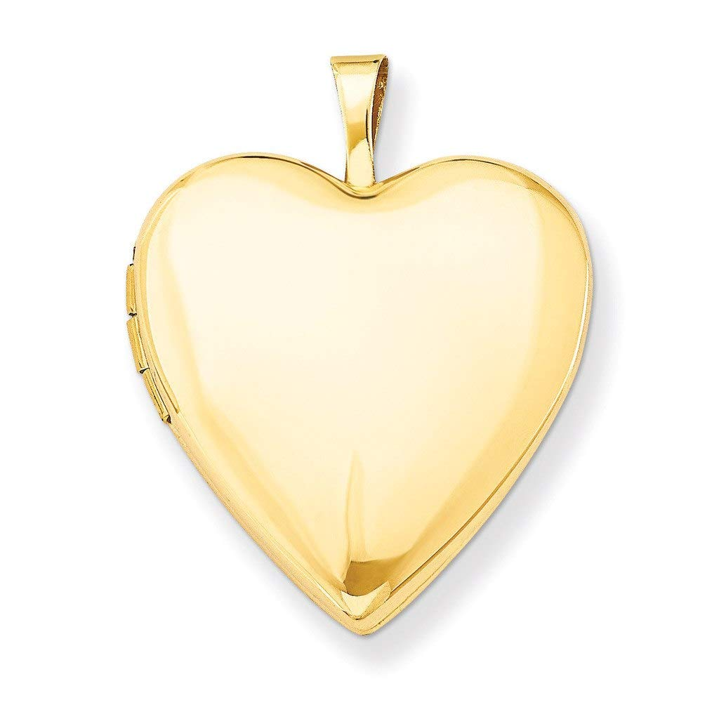 Pori Jewelers 14K Solid Yellow Gold Heart Locket Pendant- Perfect for Holding Photos, Messages, Sentimental s (20mm)