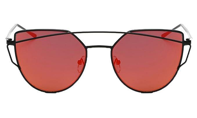 ZhuiKun Gafas de Sol de Moda para Mujer-Lentes Planos de ...