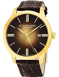 Stuhrling Original Men's 490.3335K31 Classic Cuvette II Swiss Quartz Date Gold-Tone Watch