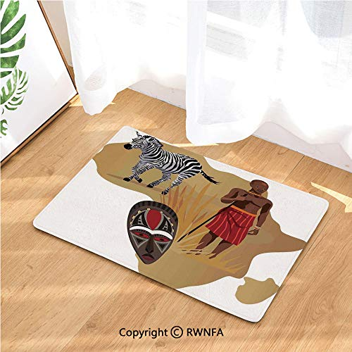 Doormat Africa Map and Tribal Ethnic Cultural Symbols with a Native Local Man Art Work Print Non Slip Washable Water-Absorbent Floor Mats for Kitchen Bedroom,Anti-Fatigue Rugs Carpet,Multicolor