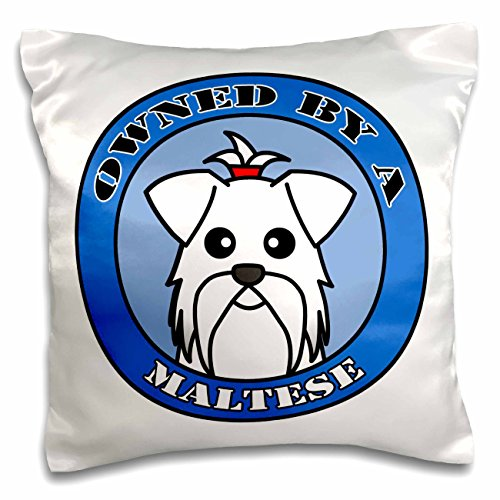 Janna Salak Designs Dogs - Owned By a Maltese Dog - Blue - 16x16 inch Pillow Case (pc_57159_1) - Maltese Blanket