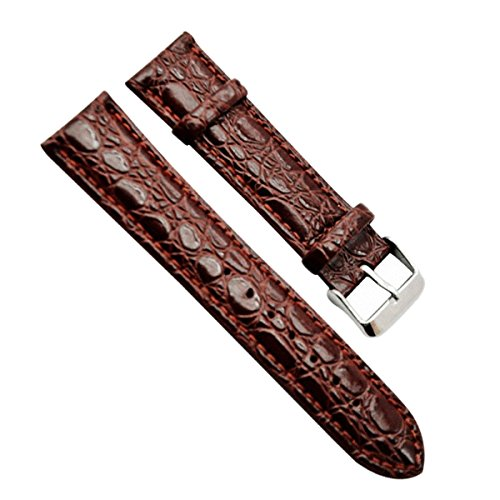 22mm Men's Vintage Regular Replacement Genuine Leather Silver Buckle Watch Strap/Watch Band (Alligator Grain Leather/Brown) (Cartier Watch Bands)