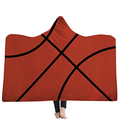 Basketball Hooded (AMTAN Hooded Blanket 3D Basketball Baseball Softball Soccer Warm Wearable Blankets Kids and Adults Lie Fallow Blanket Super Soft Sherpa Fleece Blankets (Adults 59