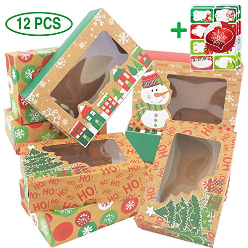 12 Christmas Cookie Boxes -Large Kraft Holiday Bakery Food Container for Gift Giving with 80 Count Christmas Foil Gift Stickers (Party Christmas Food)