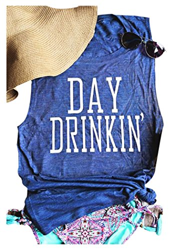 HDLTE Women Day Drinking Letters Print Sleeveless Tank Tops Casual T-Shirt Tees (Blue, XL)