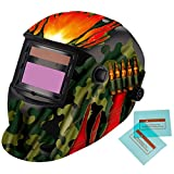 iMeshbean Cool Military Green Solar Auto-Darkening Welding & Grinding Helmet + 2 pcs Extra Lens Covers ANSI Certified Model#1022 USA