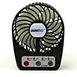 Innobay® Mini Handy Portable Rechargeable Fan Operated by Built-in Lithium Battery, 7 blades, 4 Speeds of Air Force Adjustable, Timing Function and Battery Status Visible, Assembled with Steel Stand, Perfect Gift for Kids (Black)