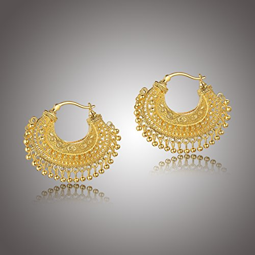 18k Yellow Gold Over Fine Silver Plated Bronze Indian Ethnic Chand Bali Hoop Earrings