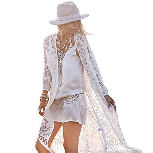 Women Boho Lace Kimono Cardigan White - 9