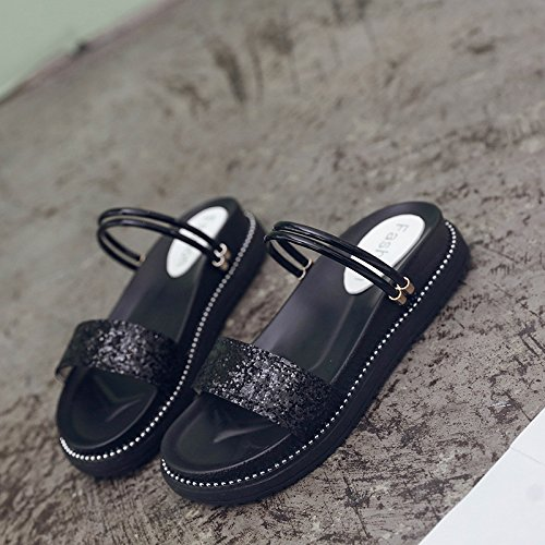 Girls Sequins Slippers Cold Wear six Ladies Muffins Shoes Soft Thick Noir Women's In Summer Two Trente qzFn8