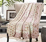 Cozyholy Original Design Coverlets Quilted Blanket 100% Cotton Bed Cover Quilt Throw for Twin/Full Bed, Flower