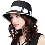 JOYEBUY Women Wide Brim Fedora Beach Sun Hat Straw Summer Packable Cap UPF50+ (A-Black)