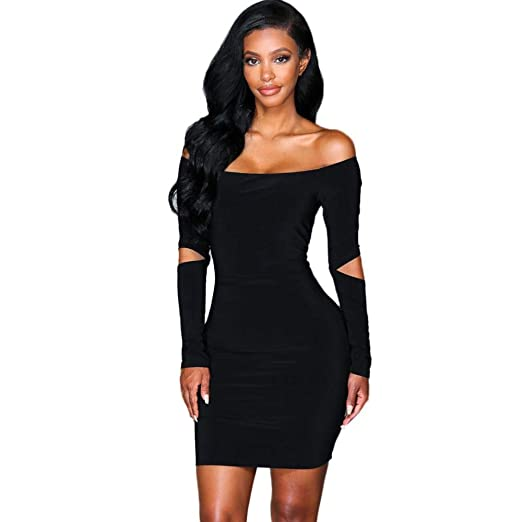 972afb93fdb Amazon.com  Oliviavan Women Sexy Off Shoulder Long Sleeve Dresses ...