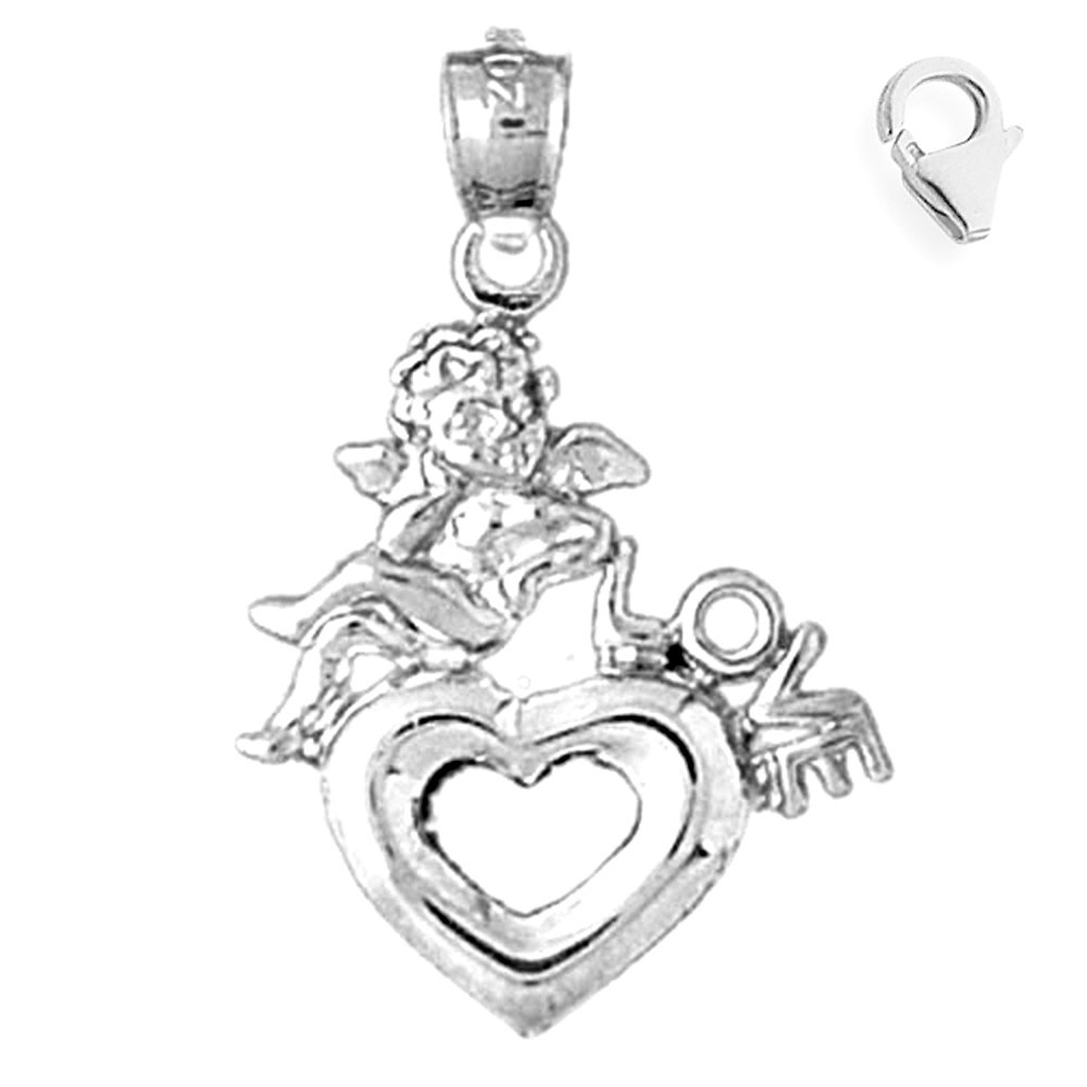 JewelsObsession Sterling Silver 27mm Love with Heart Charm w//Lobster Clasp