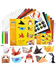 DIY Origami Arts and Crafts Kit for Kids Age 3-10 with 8 inch Origami Paper, Instructional Origami Book, Stickers, Best Gift for Kids Boys Girls Beginner School Project