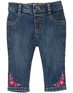 Little Girl's Floral Jeans - 3 -6 Months
