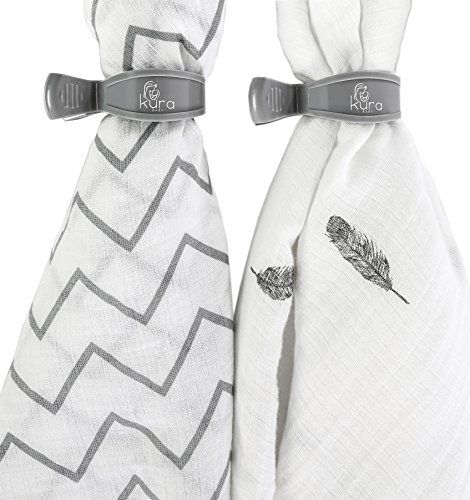 kura-baby-muslin-swaddle-blanket-2-pack-set-with-stroller-clips-grey-white-45x45