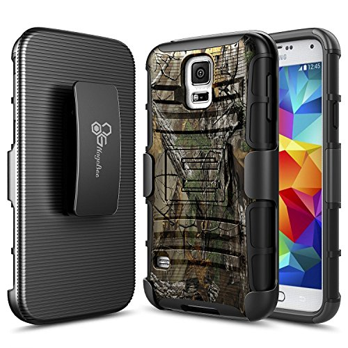 Galaxy S5 Case, NageBee [Heavy Duty] Armor Shock Proof Dual Layer [Swivel Belt Clip] Holster with [Kickstand] Combo Rugged Case for Samsung Galaxy S5 / Galaxy SV / Galaxy S V 2014 G900 - Camo