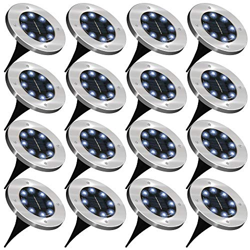 Sunco Lighting 16 Pack Solar Path Lights, Dusk-to-Dawn, 7000K Diamond White, Cross Spike Stake for Easy in Ground Install, Solar Powered LED Landscape Lighting - RoHS/CE
