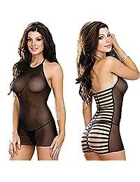 Puda Womens Sexy Lingerie Black Perspective Elastic Gauze Babydoll Pajamas