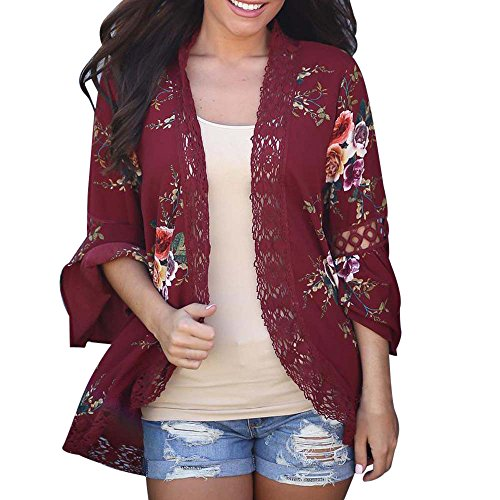 【MOHOLL】 Womens Floral Loose Bell Sleeve Kimono Cardigan Lace Patchwork Cover Up Blouse Top Wine Red