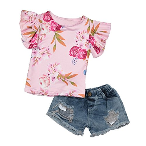 Kehen Girl Summer Clothes Kid Toddler Baby Ruffles Sleeve Floral T-Shirt + Cowboy Denim Stretch Jeans Destroy Shorts (Pink,18-24 Months) ()
