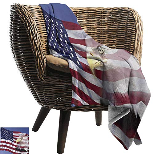 Sheets 50 300gsm (AndyTours Wearable Blanket,American Flag,Bless America Flag in The Wind with Eagle Icon Double Exposure Citizen Image,Multicolor,300GSM, Super Soft and Warm, Durable 50