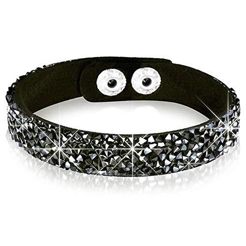 JKJF Black Glitter Leather Bracelet Personality Glamour Rock Punk Style Bracelet For Men Women Boys Girls